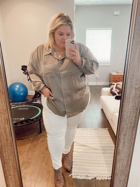 I am obsessed with satin for fall and this Eloquii shirt that comes in 3 colors is perfect. Also these white jeans are from ATHLETA and are on sale right now!  #LTKcurves #LTKworkwear #LTKSale