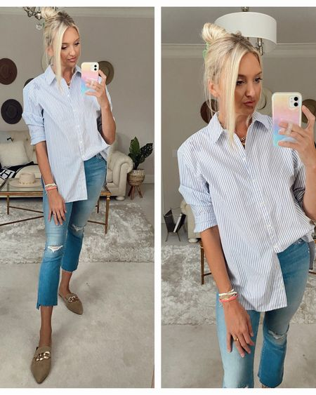 Button down, designer denim from the Nordstrom Sale run ttts wearing a 27, flats tts http://liketk.it/3jJJa @liketoknow.it #liketkit #LTKsalealert #LTKshoecrush