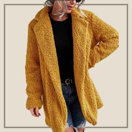 Mustard yellow teddy sweater coat  #LTKunder50 #LTKstyletip