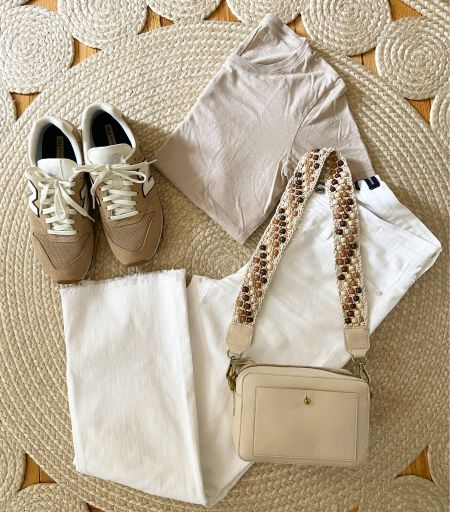 A neutral palette for a rainy day.  Tee and jeans TTS. Sneakers run a half size small- I have an 8 and usually wear a 7.5.