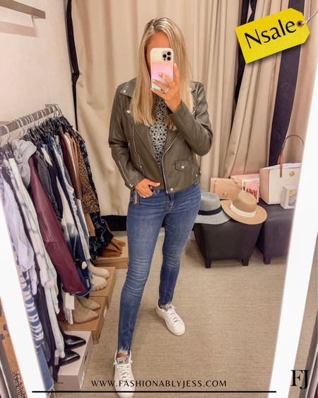 Jacket and tee shirt restocked. Wearing size small  #nsale Casual style Faux leather jacket Vegan leather jacket   #LTKsalealert #LTKunder100 #LTKstyletip