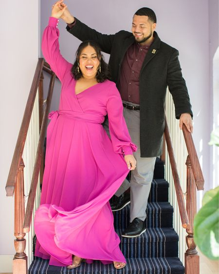 The most perfect magenta long sleeve maxi dress for engagement photos! This would also be perfect for maternity photos or to wear as a wedding guest. And under $100! Wearing a size XL, true to size with stretch in the waistband. http://liketk.it/3bjoN #liketkit @liketoknow.it