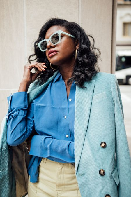 Relaxed blue button up silk shirt, corduroy blazer and high waisted mint green denim jeans for a fun holiday look. I'm wearing a 10 in the shirt for a roomier fit.   #LTKHoliday #LTKGiftGuide #LTKunder50
