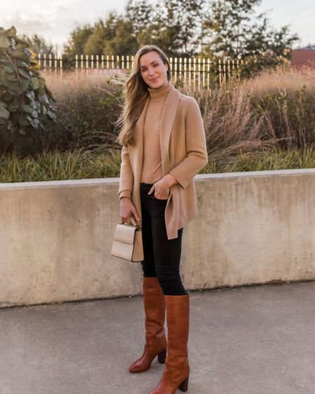 One of the best opportunities to grab high quality closet staples you'll have for years to come begins today! My camel coat in brown and leather boots in a dark brown are included in the Shopbop Sale—up to 25% off now through The 14th.  Exact sweater is by Garnet Hill. Sold out, similar linked.   #shopbopsale #shopbopfallsale #falloutfits #falloutfitswomen #thanksgivingoutfit #thanksgivingoutfitswomen