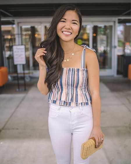 Casual spring outfit, casual outfit, date night outfits, Amazon fashion, Amazon finds: pink striped tie strap top, pink striped smocked crop top (S). white high waisted skinny jeans (26S), J.Crew rattan clutch. @liketoknow.it http://liketk.it/39UPh #liketkit   #LTKunder50 #LTKstyletip #LTKSeasonal