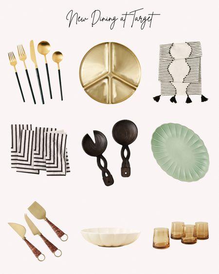 Dining, Target, jungalow, fall, autumn, new, flatware, serving tray, table runner, napkins, glasses, serving bowl, salad server, black and white  #LTKhome #LTKSeasonal #LTKunder50