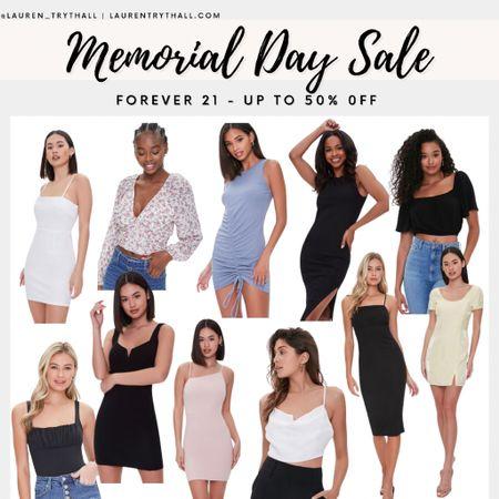 Forever 21 Memorial Day Doorbuster Sale  (Wedding dress, dresses, summer dress, white dress, summer tops, tank tops, crop tops, mini dress, summer outfit)  #LTKSeasonal #LTKsalealert #LTKunder50