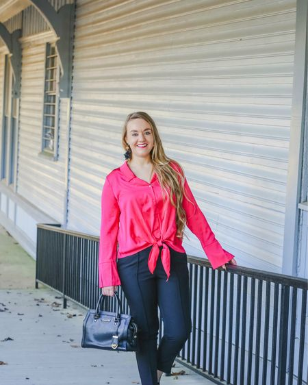 Valentine's Day is almost here! 💕 Are you making plans for the special day? I'll be sharing some cute looks to help you celebrate in style from workwear to casual wear! First up, this pink tie front, button up top that's under $20! Great with dress pants for the office or white jeans after hours.   • •  P.S. There's a Galentine's Gift Guide on CentsibleBlonde.com! Go check it out under the 'Menu' tab.   • •  These ankle dress pants are 👌🏽 and under $20 as well. They are TTS with a little room. I'm wearing a size 4 for reference. Use code AMOR on pants & top to save an extra 25-30% depending on your shopping cart total. Earrings are 20% off, no code needed!   • •  You can instantly shop this Valentine's Day  look or get the details by following me on the free LIKEtoKNOW.it app! You can also go to the link in my bio! ❌⭕️    http://liketk.it/2zKKE   @liketoknow.it #LTKunder50 #LTKsalealert #LTKunder100 #LTKstyletip #LTKitbag #liketkit