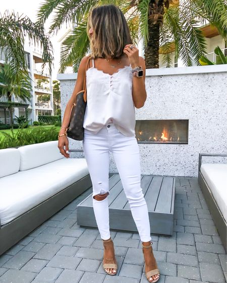 Yesterday's outfit for dinner! Love these white    Stretchy skinny jeans. On sale for only $20– wearing size 25 short. This lace cami is perfect for layering and I have size s in it. Also have it in black! Wearing size 6.5 in these neutral block sandals you can dress up or down!  http://liketk.it/2ERQQ #liketkit @liketoknow.it #LTKunder50 #LTKunder100 #LTKsalealert #LTKshoecrush #LTKstyletip