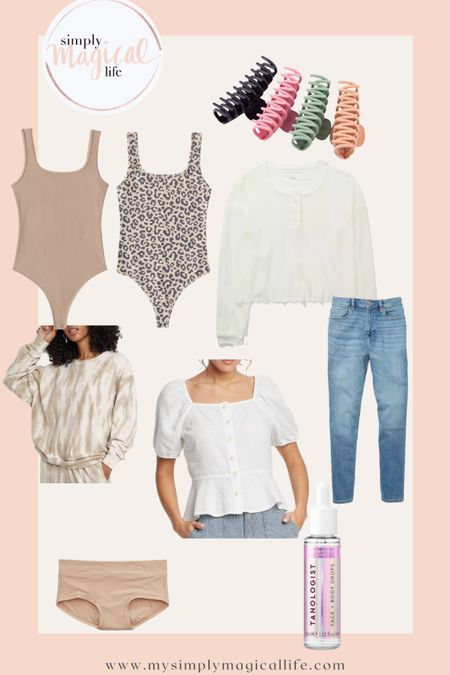 Spring favorites: Tanning drops Claw clips Neutral bodysuits and tops Stretchy mom jeans  The most comfortable undies  http://liketk.it/3bq2B #liketkit @liketoknow.it #LTKunder100 #LTKunder50 #LTKstyletip