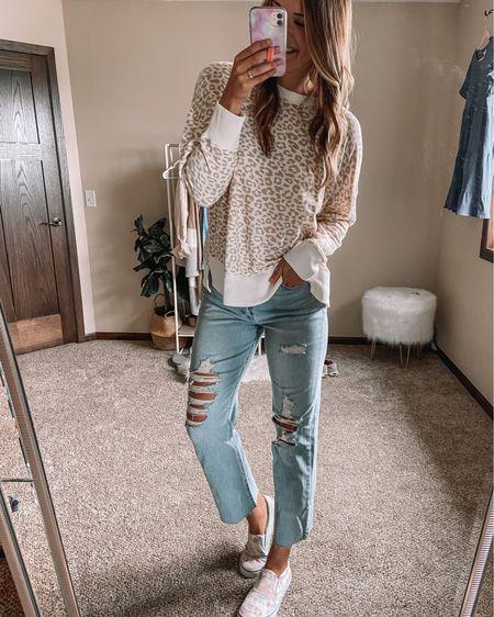Cheetah Walmart $11 sweatshirt / straight leg LONG target jeans / tie dye sneakers Xl sweatshirt 10 long jeans 11 sneakers   #LTKstyletip #LTKunder100 #LTKunder50