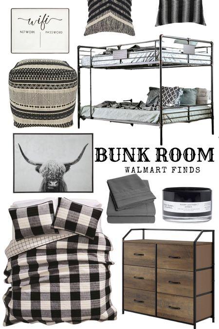 Walmart home decor. Guest Bedroom bunk room.  #farmhouse #home #decor #laurabeverlin  #LTKhome #LTKsalealert #LTKunder50