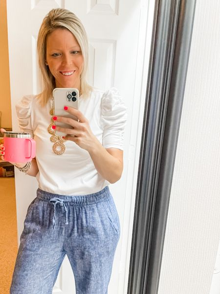 ✨Linen pants - the pajamas of work attire 🤣👏🏻  #LTKstyletip #LTKunder50 #LTKworkwear
