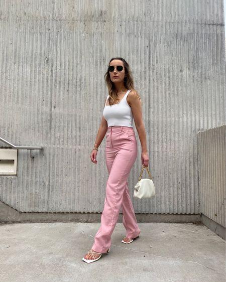 Legally Brunette 💖 pink outfit, pink trousers, pink pants, business casual, trousers, affordable fashion, summer style, summer outfit, work outfit, summer work style, crop top, baguette bag, dumpling bag  #LTKunder100 #LTKstyletip #LTKworkwear