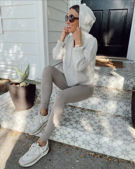 Cashmere hoodie (wearing regular size) Tan leggings (come in a short inseam)  Trainer sneakers (run true to size) All 20-25% off and sustainably made    #LTKsalealert #LTKstyletip