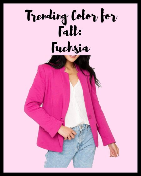 On my wish list: this bright pink (fuchsia) blazer from Gibsonlook. This is structured yet stretchy and so comfortable.    #LTKunder100 #LTKSeasonal #LTKworkwear