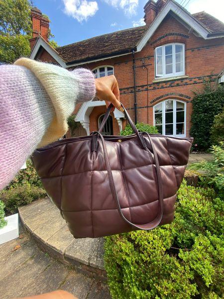 Leather bag - tote bag - leather handbag - quilted bag - oxblood bag - burgundy bag - all saints leather bag - autumn style - autumn fashion - jumper   #LTKsalealert #LTKitbag #LTKeurope