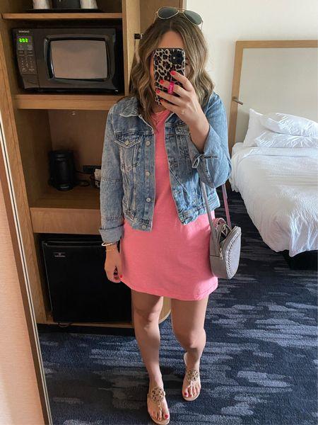 Sale dress! Summer travel look! Cute and comfy dress! Denim jacket. Sandals. Evereve sale under 32  #LTKunder100 #LTKstyletip #LTKtravel