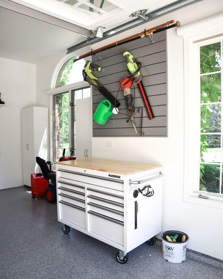 Garage slatwall and tool bench http://liketk.it/3gupk #liketkit @liketoknow.it #LTKhome #LTKunder100 #LTKfamily