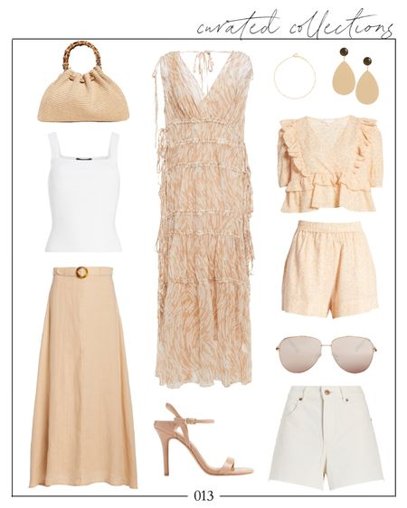 Peaches and cream 🍑 This dress is on my wishlist as a summer wedding look — a few of these pieces are under $100 (how cute is the two piece set?!). xo!  straw bag, straw top handle bag, summer clutch, wedding guest dress, wedding guest dresses, floral midi dress, wedding guest dress midi, summer wedding guest dresses, white tank top, midi skirt, ray bans, sunglasses under 100, express summer, white cutoffs   #LTKwedding #LTKSeasonal #LTKunder100
