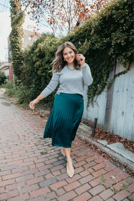 Fall inspired outfit idea - pleated midi skirt and cashmere sweater   #LTKcurves #LTKunder100 #LTKSeasonal
