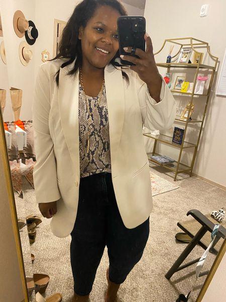 This ivory blazer from Express is lit 🔥 I'm wearing the XL  #LTKsalealert #LTKworkwear #LTKunder100
