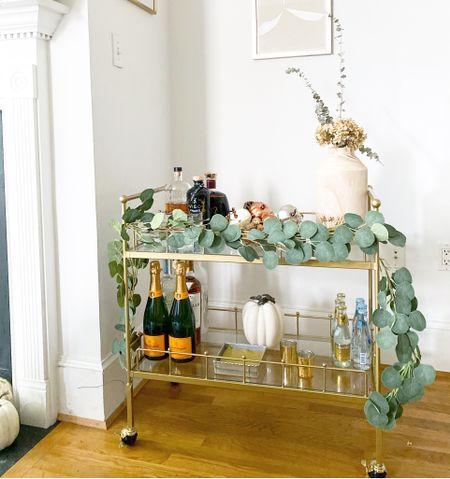 Fall bar cart, gold bar cart, eucalyptus, fall home decor, autumnal decor, studio mcgee   #LTKSeasonal #LTKhome