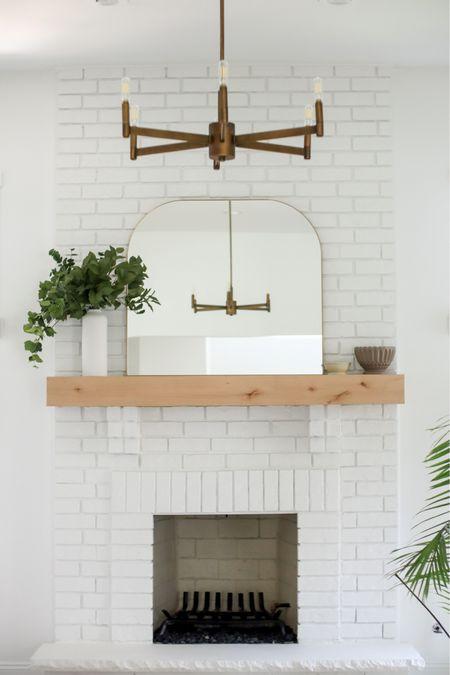 White brick fireplace mantle   #LTKstyletip #LTKhome
