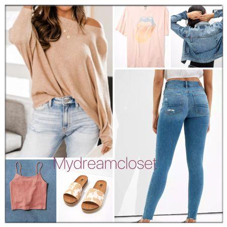 #AE favorite jeans  Linking off the shoulder sweater  Slide sandal  Denim jacket  Graphic tee   #LTKbeauty #LTKfit #LTKhome #LTKseasonal #LTKwedding #LTKitbag #sale #LTKshoecrush #AE #vacationoutfit #LTKswim #loft #jcrew #nike  #billabong #denim #sandal #katespade #goldengoose #lilypulitzer #mytexashouse #Burberry #homesweethome #Quay #rayban #sunglasses #jeans  #shop.ltk #rewardstyle #ltk   #LTKitbag #LTKsalealert #LTKshoecrush