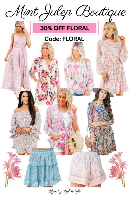 Mint Julep Boutique - 30% off floral collection! Use code FLORAL. Most items $29-34 on sale, normally $40-46. Shop floral dress, off shoulder top, floral kimono, floral romper, ruffle skirt and more. Summer outfit, vacation outfit, beach outfit. http://liketk.it/3iKrH @liketoknow.it #liketkit #LTKsalealert #LTKstyletip #LTKunder50 #LTKunder100 #LTKtravel