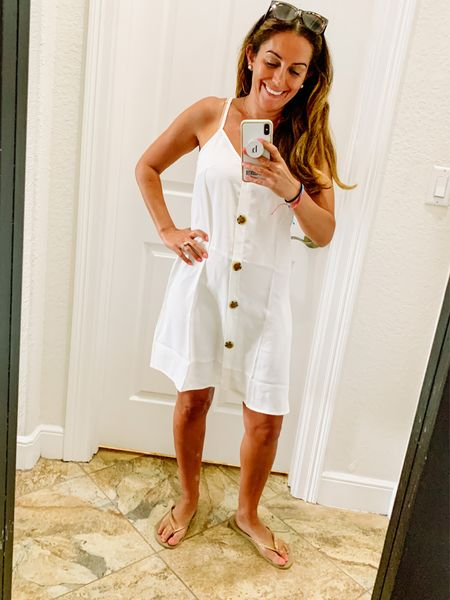 I'm always drawn to white! This adorable dress with brown button detail is one of my fave around the house wears from Amazon! You can dress it up with a wedge too! Your welcome!   #LTKfamily #LTKstyletip #LTKunder50