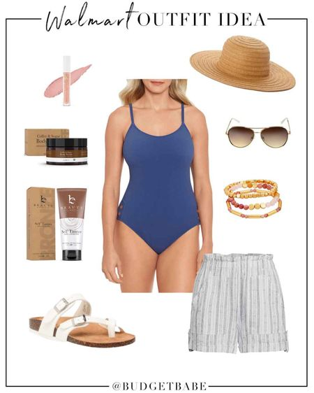 Summer beach pool outfit idea with @walmartfashion! #ad I ordered this swimsuit in a medium; under $20 and the Time & Tru suits fit me so well. I have and love these linen shorts with elastic waist ($13, fit tts). Finally this clean sunless tanner is my new favorite! I received mine as a press sample and found the best price on Walmart.com ($4 less than other sites! 🙌🏻) for when I need to reorder! http://liketk.it/3k16S #liketkit @liketoknow.it #LTKunder50 #LTKswim #LTKbeauty #walmart @walmart #walmartbeauty