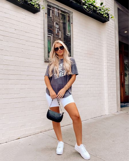 Aerie biker shorts and boyfriend distressed tee with Air Force ones http://liketk.it/3irvF #liketkit @liketoknow.it