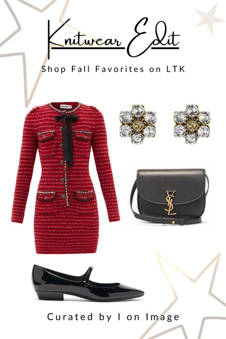 Parisian chic for autumn: Self-Portrait ribbed bouclé red knitted mini dress with long sleeves, chic crystal embellished buttons and a black pussy-bow. Styled with Saint Laurent patent-leather Mary Jane flats, Kaia cross-body bag with iconic YSL-plaque bag and floral double G-logo and crystal clip closure earrings ❤️  Knitted dress, mini dress, body-con dress, crystal buttons, red dress, Chanel style, feminine style, elegant style, fall fashion, autumn fashion, AW21 #LTKfashion #LTKeurope   #LTKworkwear #LTKitbag #LTKstyletip