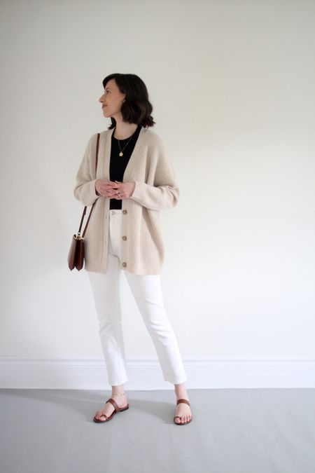 A recent look from the Style Journal.   Cardigan & Sandals - Jenni Kayne - Use LEE15 for 15% Off  Tee & Jeans - Everlane  Bag - A.P.C.