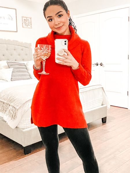 Had a beautiful formal Christmas Eve dinner last night, but kept it a little more casual for Christmas Day! Loving this cowl neck tunic sweater (wearing an XS) I picked up from Loft! Perfect to pair with leggings and super soft and cozy! Currently on sale for over 60% off! ✨   #LTKNewYear #LTKunder50 #LTKsalealert http://liketk.it/34Asi #liketkit @liketoknow.it