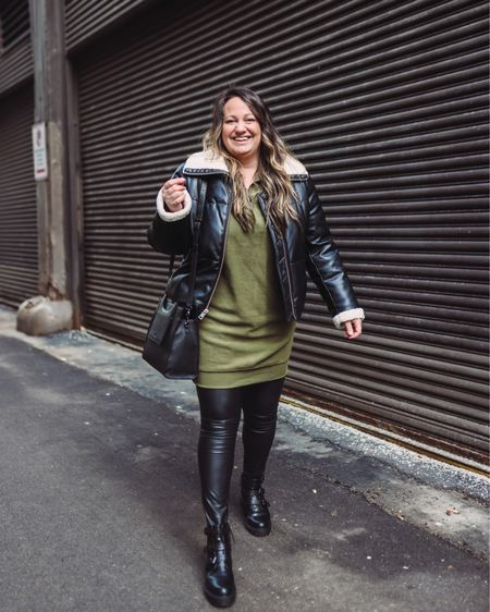 Extremely soft, green fleece loungewear sweater dress // Dr martens style chunky boots // Faux leather leggings // Faux leather bomber jacket // Black leather crossbody bag @liketoknow.it   http://liketk.it/36SPx #liketkit #StayHomeWithLTK #LTKVDay #LTKSeasonal