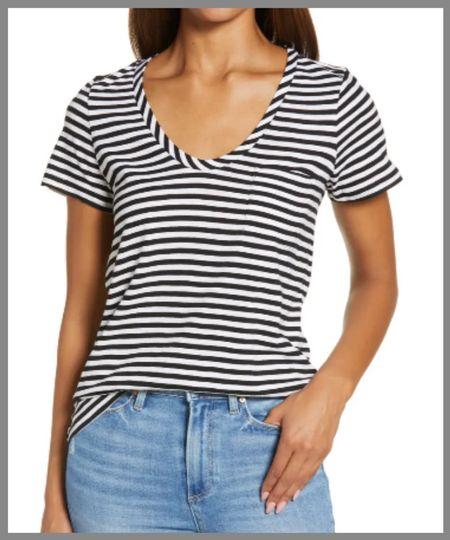 Perfect rounded v-neck tee in the Nordstrom anniversary sale. A great staple for any closet.  #LTKSeasonal #LTKunder50 #LTKsalealert