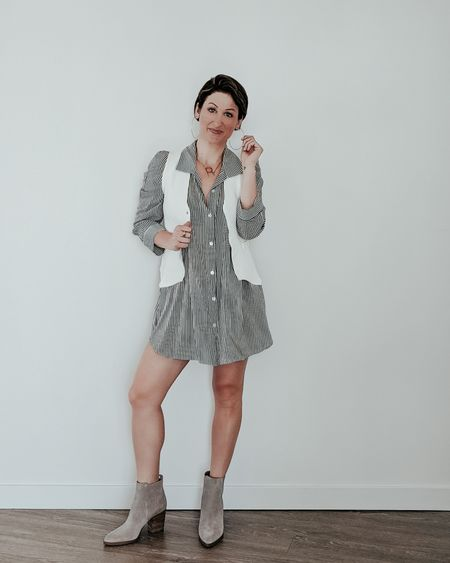 #ootd #outfits #dailylooks #shirtdress #vest #booties  #liketkit   @liketoknow.it   http://liketk.it/30vOw