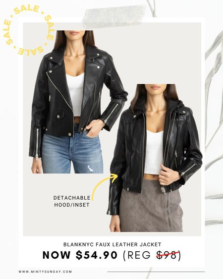 faux leather moto jacket, faux leather jacket with removal hood bomber style, fall outfits, fall looks, back to school outfits   #LTKstyletip #LTKunder100 #LTKSeasonal