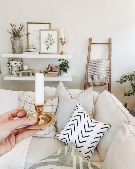 Shelfie decor, neutral pillows, chamberstick, candle holder with handle, mud cloth pillow, neutral living room decor, boho decor    http://liketk.it/3j2dO #liketkit @liketoknow.it #LTKhome @liketoknow.it.home