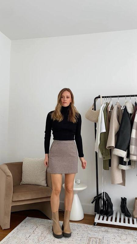 Mango skirt, fits true to size  Mango coat, wearing a size small  Sam Edelman boots, fit true to size  #LTKstyletip #LTKSeasonal #LTKunder100