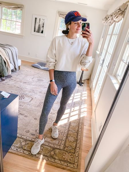 Cozy workout outfit, loved this cropped sweatshirt, will be sooo great for fall!   #LTKfit #LTKshoecrush #LTKunder100