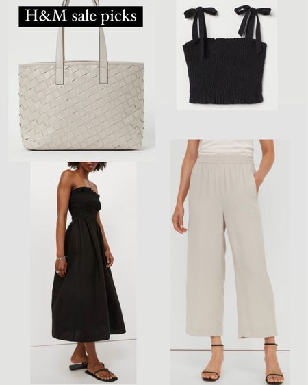Neutral gray Woven tote for summer work outfits under $35, black A line smocked dress for under $20. The summery pants linked are lightweight and draped, cropped in style but full length on someone petite. http://liketk.it/3j1Lh #liketkit @liketoknow.it #LTKunder50 #LTKsalealert #LTKstyletip