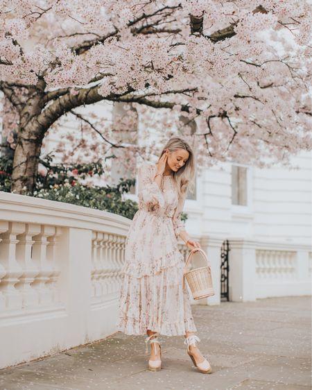 Sunday best! My favourite spring #ootd - a pink floral midi dress and a gorgeous basket bag! { affiliate }  http://liketk.it/2APvO #liketkit @liketoknow.it #LTKeurope #LTKunder100 #LTKwedding