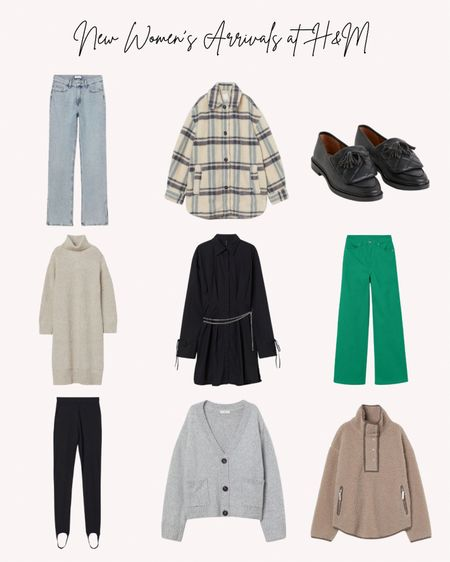 New women's clothing and shoes, H&M, new arrivals, loafers, jeans, jacket, sweater dress, stir up pants, dress, pullover   Follow me for more ideas and sales.   Double tap this post to save it for later    #LTKSeasonal #LTKstyletip #LTKunder50