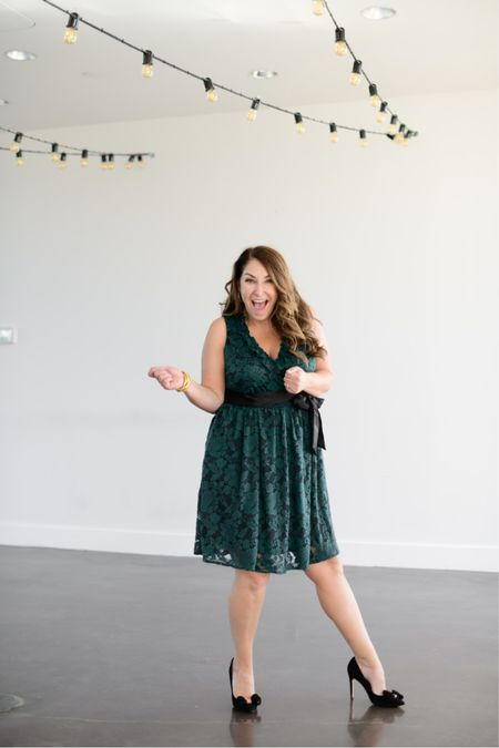 Wedding guest dress from the Gibsonlook x Hi Sugarplum Holiday Collection!   Fit tips: dress tts, L // pumps tts  Wedding guest dresses Fall dress Gibsonlook   Use code RYANNE15 to save 15% on the entire collection.  #LTKwedding #LTKSeasonal #LTKHoliday