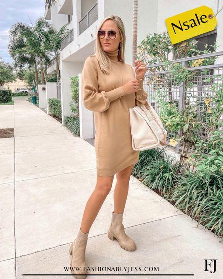 Sweater dress in stock! Wearing a small. Comes in 3 colors.  #nsale Sweater dress Combat boots Date night outfit Fall style   #LTKsalealert #LTKstyletip #LTKworkwear