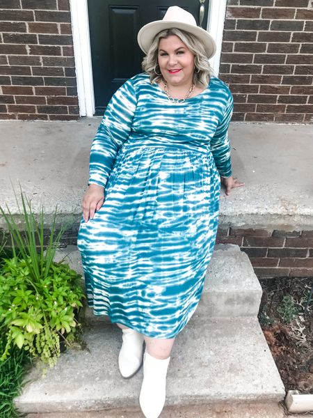 This plus size tie dye midi dress is a $20 Walmart find that comes in several different color variations and will be perfect for fall! This is plus size fashion done right!  #LTKcurves #LTKstyletip #LTKunder50