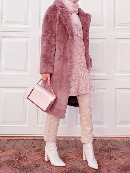 Faux fur coat - modest outfit - pink dress - autumn outfit - tapered trousers - boots     http://liketk.it/32VpL @liketoknow.it #liketkit   #LTKstyletip #LTKworkwear #LTKeurope